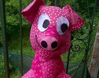 Handmade patchwork PIG PUPPET