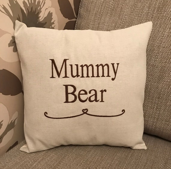 Mothers Day Laura Ashley Personalised Mummy Bear Cushion Cover Embroidered