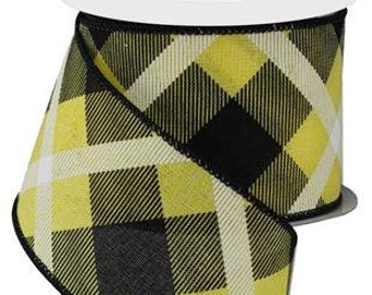 """2.5"""" Printed Plaid Ribbon: Yellow, Black, White"""
