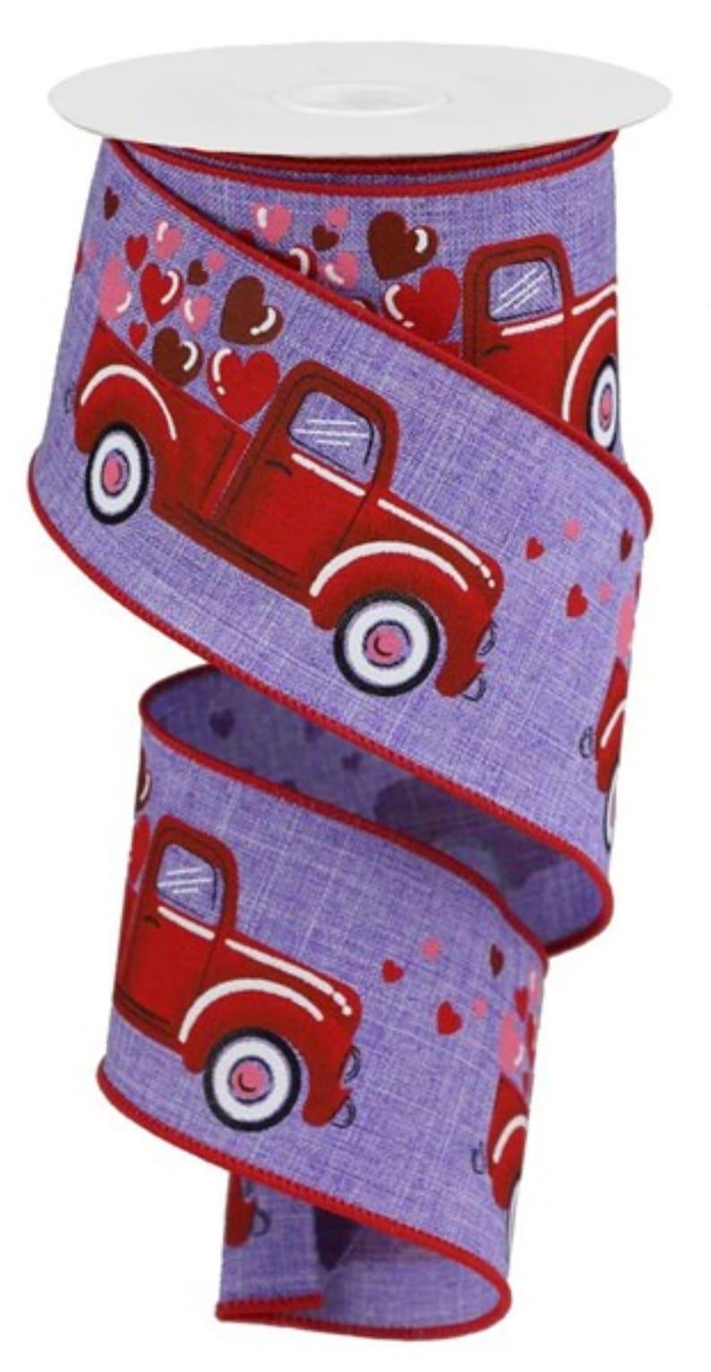 2.5 Truck Hearts Royal Ribbon 10 Yards Lavender