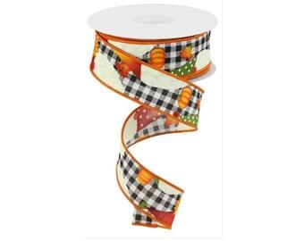 "1.5"" Gnome Pumpkin Ribbon: White (10 Yards)"