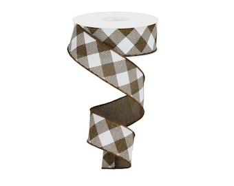 """1.5"""" Diagonal Check On Royal Ribbon: Brown & White (10 Yards)"""