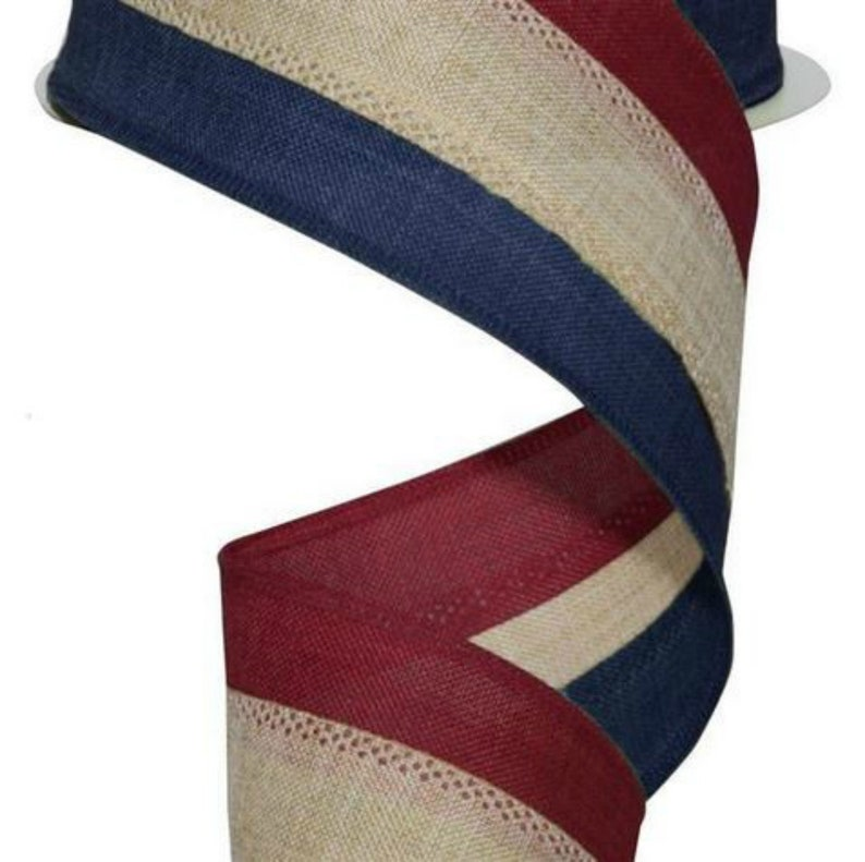 Navy 10 Yards Beige 2.5 Faux Burlap Striped Ribbon: Burgundy