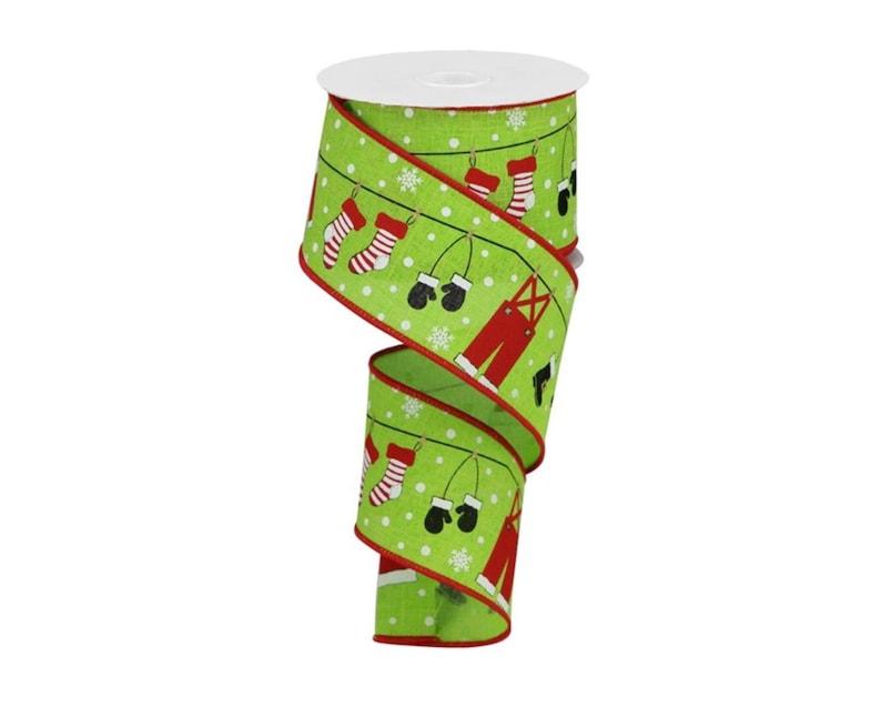 Lime Green 10 Yards 2.5 Santa Clothesline Ribbon
