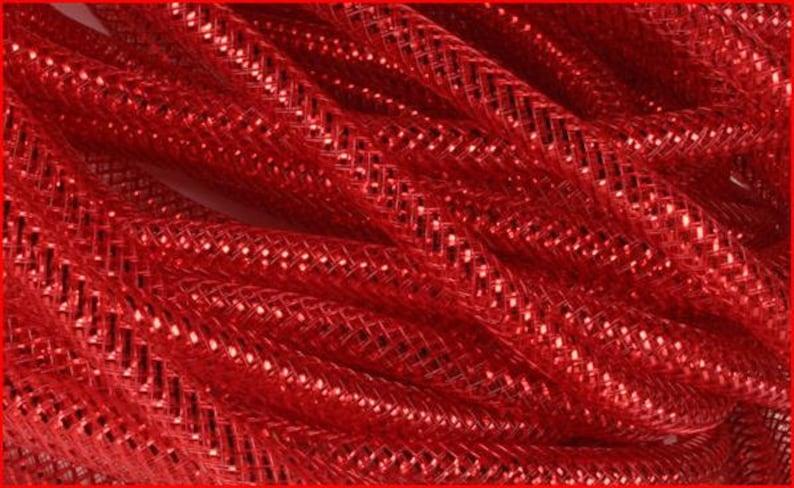 Deco Flex Tubing Ribbon Metallic Red 8mm x 30 Yards