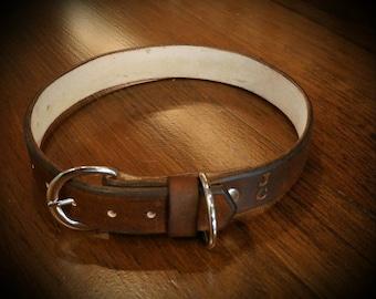 Antiqued Leather Dog Collar