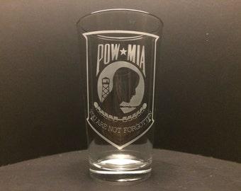 POW MIA Etched Glass