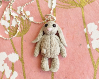 Hand Sculpted Any-Coloured Toy Bunny Rabbit Pendant on Chain