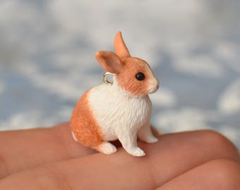 Custom-Made Bunny Rabbit Pendant with Chain - Any rabbit you want, sculpted by hand from photographs of your pet