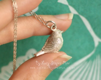 Handmade Sterling Silver Little Bird Pendant and Chain