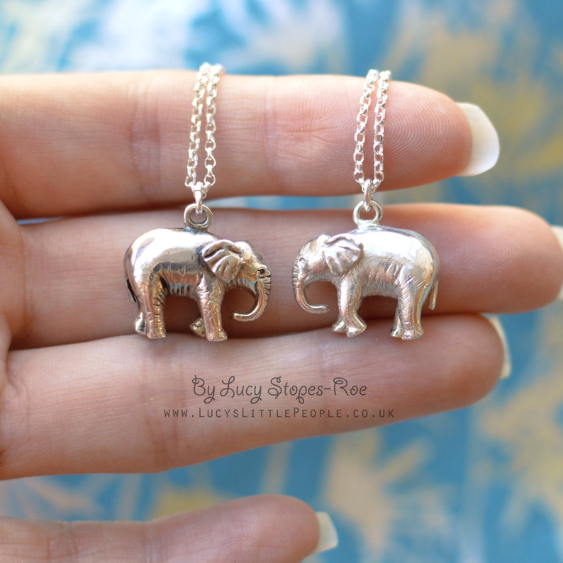 Handmade Sterling Silver Baby Elephant Pendant and Chain