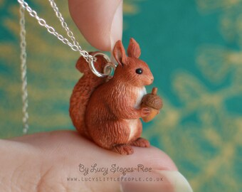 Hand Sculpted Squirrel Pendant and Chain