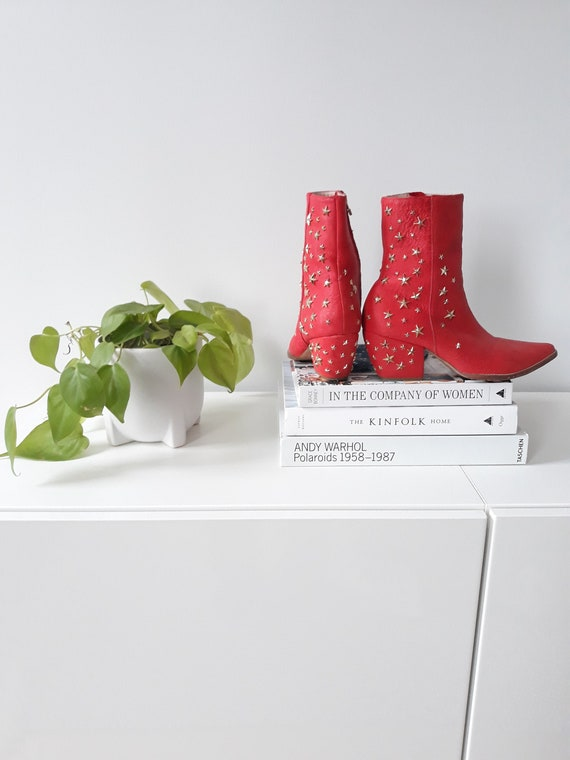 Womens Red Cowboy Boots/ankleboots