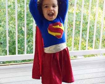 SuperGirl Halloween Costume // Girls Costumes //Dress up // Made to order  sc 1 st  Etsy & Supergirl costume | Etsy