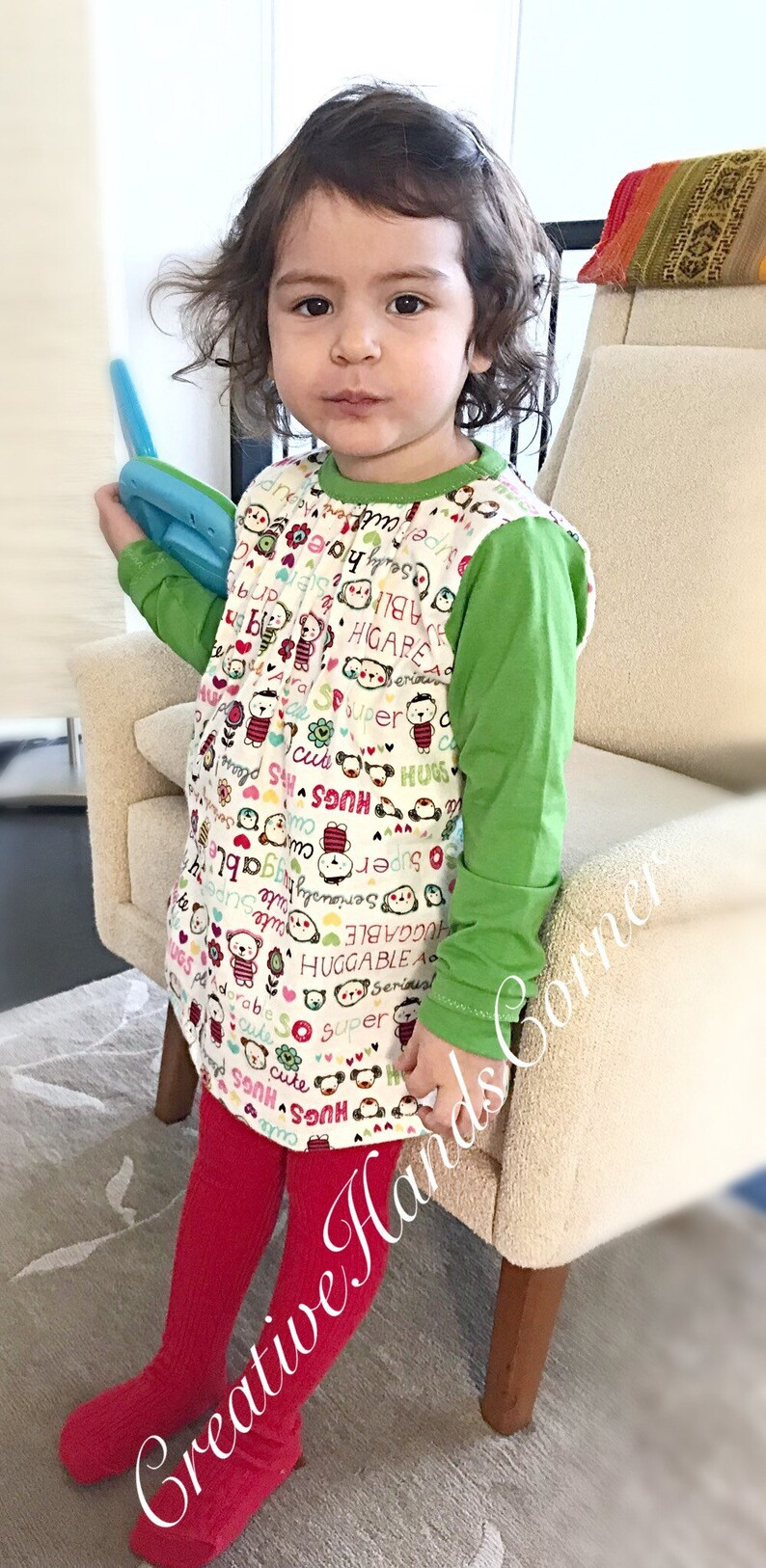 Green /& white printed flannel cotton tunic for baby girl\u2022toddler girl \u2022 Made to order