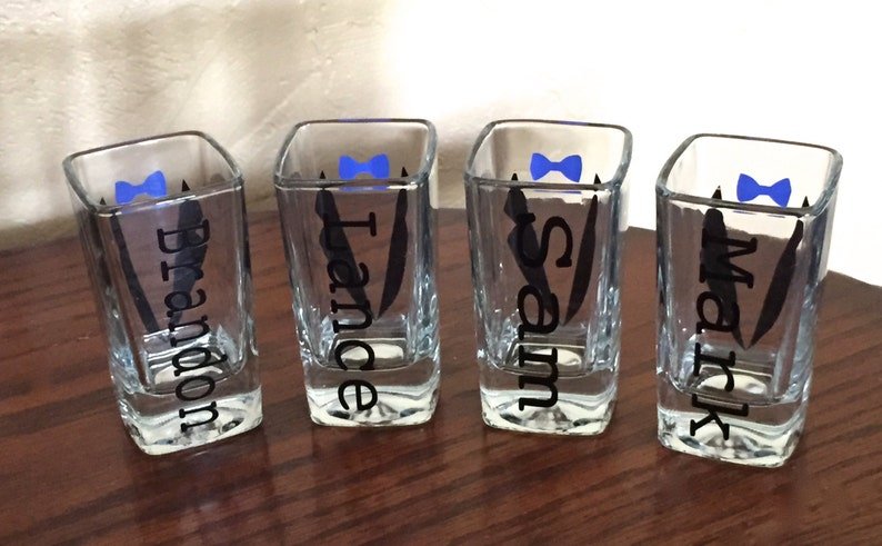 Bachelor Party Shot Glasses Personalized Shot Glasses Choose Your Suit Style Wedding Party Glasses