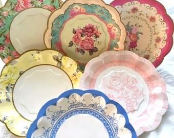 paper plates floral plates party plates wedding bridal shower baby shower tea party vintage theme cake plate dessert plate