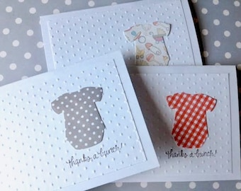 Baby Thank You Cards - Baby Shower Thank You - Thank You Note Cards - Handmade Card Set - Baby Outfit Card - Thank You Card Set - Baby Cards