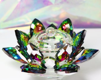 Enchanted Rainbow Lotus Dappen Dish with Lid - Glass Dappen Dish for Nails, Nail Art, Nail Care, Vitrail Glass Dish, Tealight Candle Holder