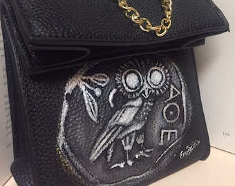 Women Crossbody  bag - hand painted purse - Greek ancient coin with owl