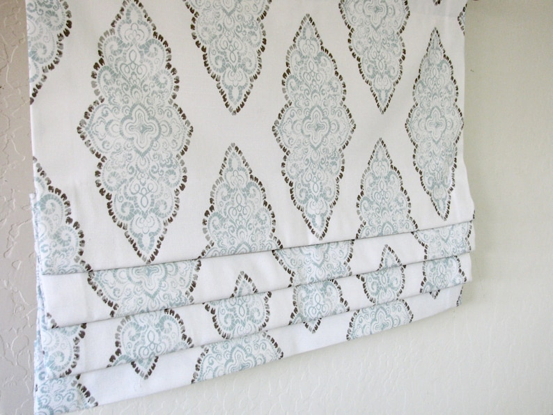 26 to 50 fabric and lining included Custom Order Faux Flat Roman Shade Valance Bedroom Dining room kitchen Bath Blue Grey White