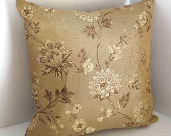Gold and Brown Floral 18x18 Pillow Cover/ Zipper/ Lined and Interlined/ High End Drapery Fabric/ Throw/ Accent