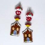 CANDY SHOPPE, Christmas Earrings, Holiday Earrings, gingerbread house, cupcake earrings, Lampwork Earrings, candy house, Twinkling Of An Eye