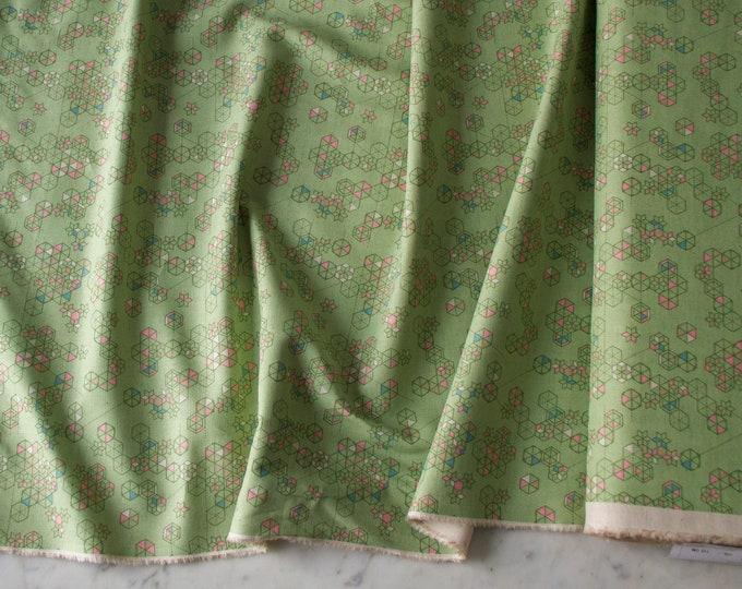 Featured listing image: Lightweight Cotton-Linen blend fabric, geometric in green, by the quarter-yard