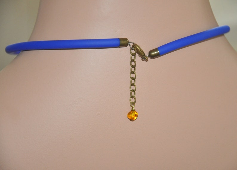 Contemporary Jewelry Yellow Blue Choker Unusual Jewelry Contemporary Necklace for Women