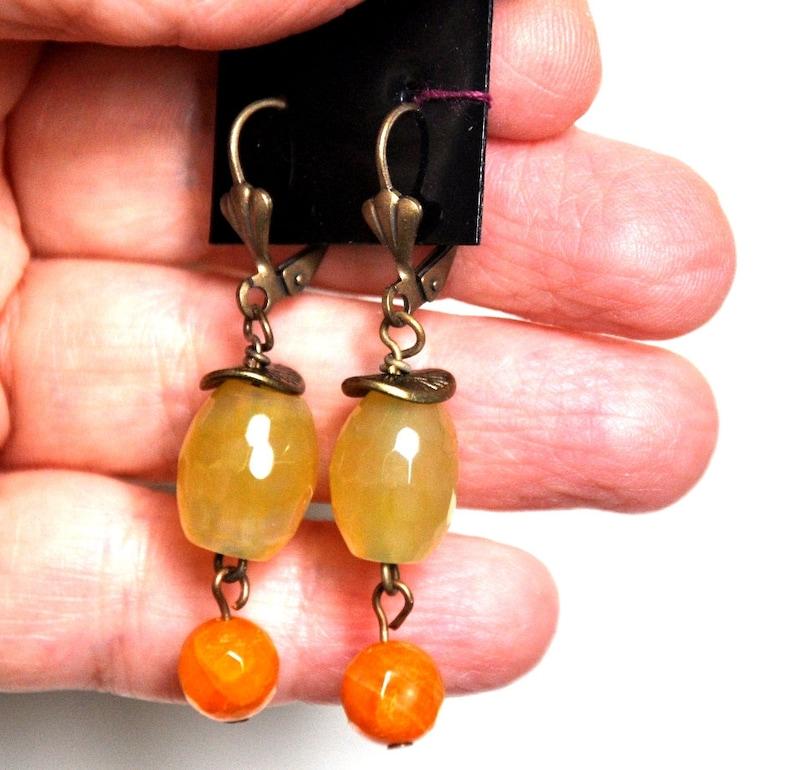 Memory Wire Bracelet Jewelry Set Gemstone Earrings Fall Jewelry Beaded Bracelet Burnt Orange Earrings Burnt Orange Bracelet