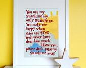 You Are My Sunshine Print, Children's Print, Nursery Print, Sunshine Print, New Baby Gift, Children's Wall Art.