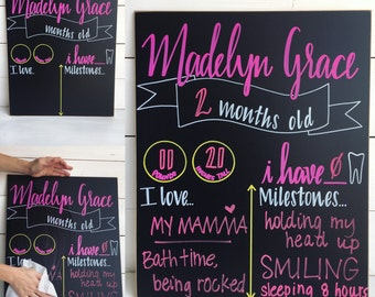 Monthly Milestone Baby Chalkboard, hand painted