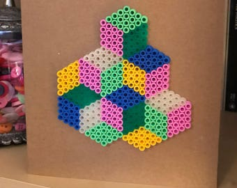 Handmade Geometric Optical Art Hama Bead Heart Greeting Card