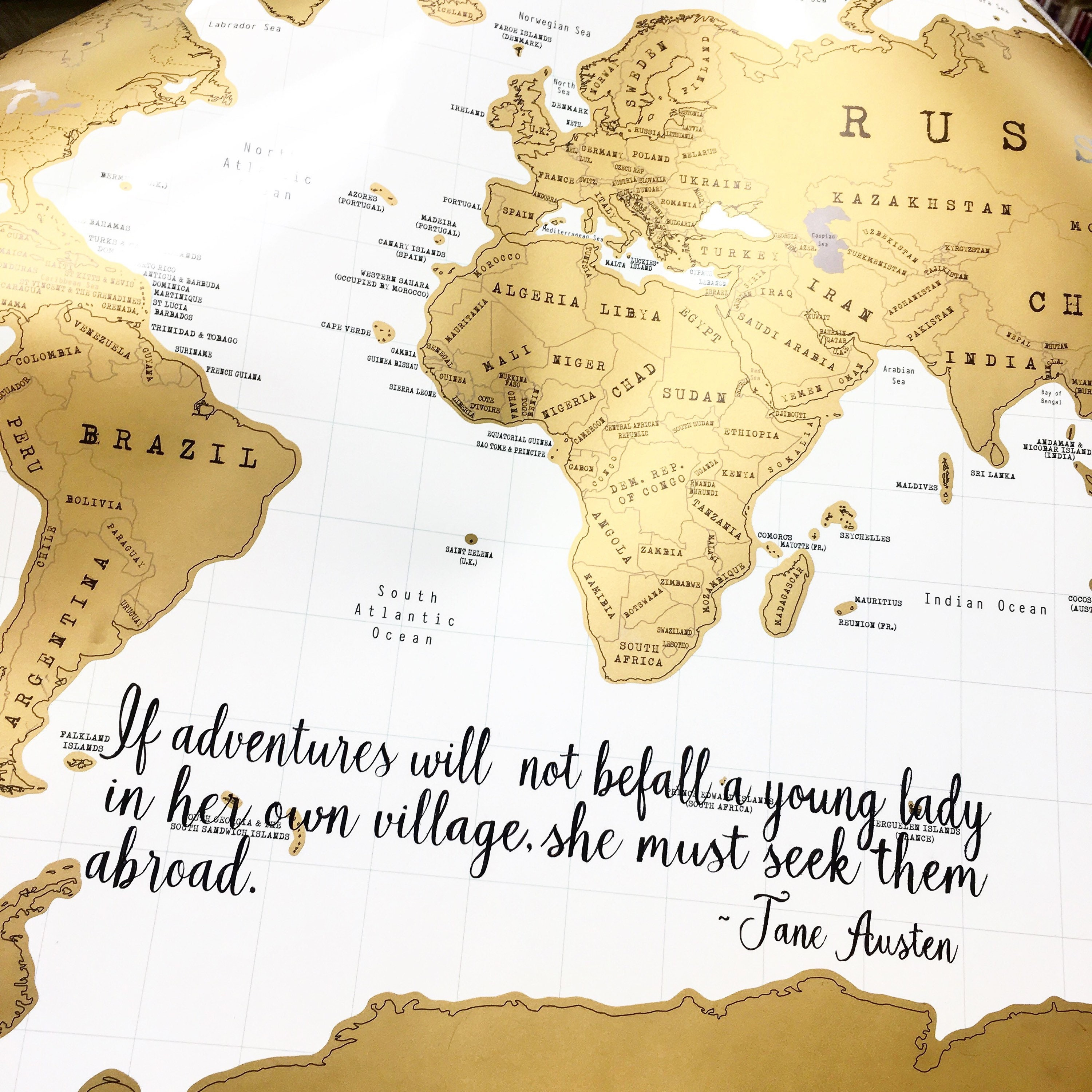Personalized Scratch Map Custom Handlettered For You Gold And - World map track your travels