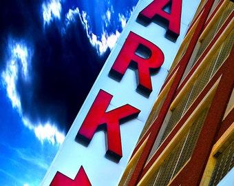 Detroit parking garage marquee sign photograph