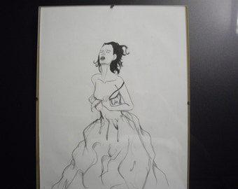 """drawing of lady """"She is Emotional"""""""