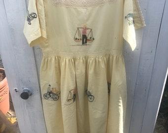 Upcycled Peasant Dress size 12 UK