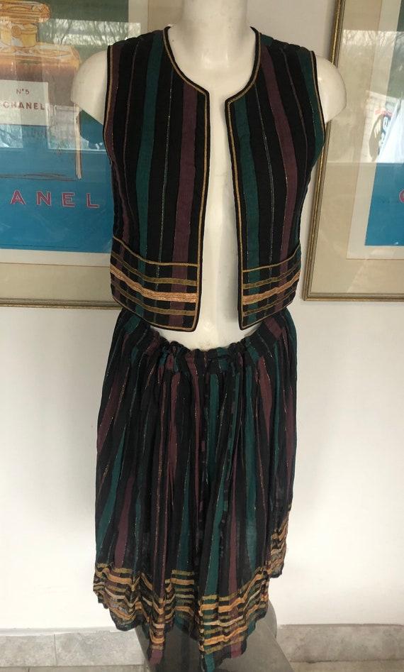 Seventies Phool Block Print Stripe  Jacket /Gilet