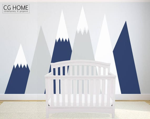 MOUNTAIN Wall Decal Crib Mountains Baby Room Protection Customized Personalized Washable Decoration Headboard Sticker Nursery #mountains019