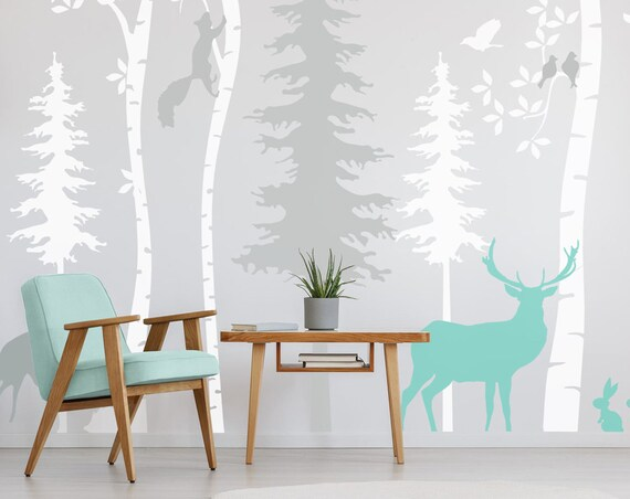 Woodland Birch Tree Animals Wall Decal Nursery Forest Baby Room Deer Fawn Scandi Mint Wall Art Kids Custom Wall Sticker Decor #woodland001