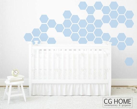 Nursery Wall Decals Pastel Hexagons Powder Blue Geometric Honeycomb Wall Pattern Wall Sticker Removable Baby Room Decor Crib Pattern
