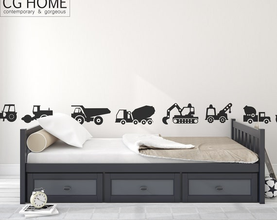 Construction Vehicles Truck Tractor Excavator Wall Decals Cars Bulldozer Crane Wall Sticker Custom Nursery Baby Boy Room Decor #cars006
