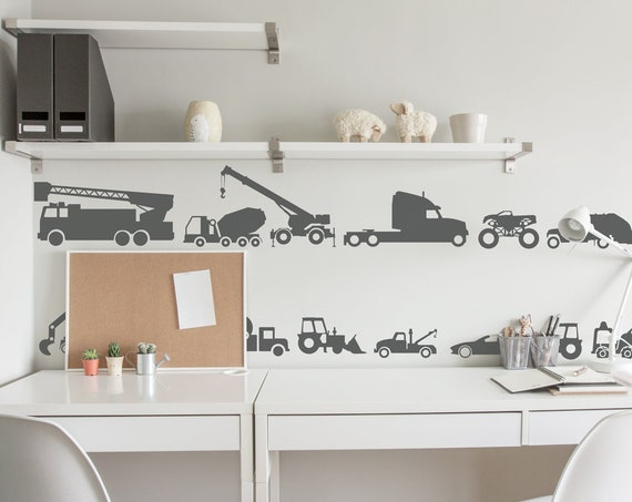 Construction Vehicles Baby Wall Decals Trucks Tractor Cars Excavator Bulldozer Crane Wall Sticker Custom Nursery Decor Scandi Style #cars008