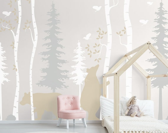 Woodland Birch Tree Animals Wall Decal Nursery Forest Baby Room Decals Bear Scandi Wall Art Kids Custom Wall Sticker Decor #woodland001