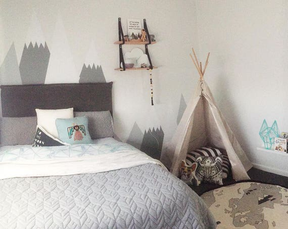 Mountains Wall Decal Baby Room Decor Nursery Crib Wall Sticker Kid Toddler Peel and Stick Self Adhesive Woodland Headboard #mountains017