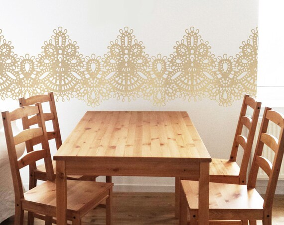 Gold Lace Wall Decals Vintage Pattern Nursery Wall Decor Baby Room Deals Tulle Wall Sticker Kitchen Decor Dining Room Wall Art Self Adhesive