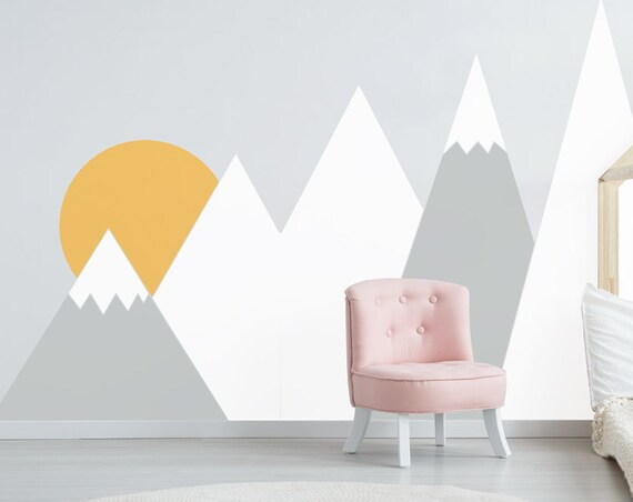 Nursery Mountains Wall Decals Sunrise Wall Decal Baby Kids Room Decor Headboard Corner Custom Washable Self Adhesive Sticker #mountains030