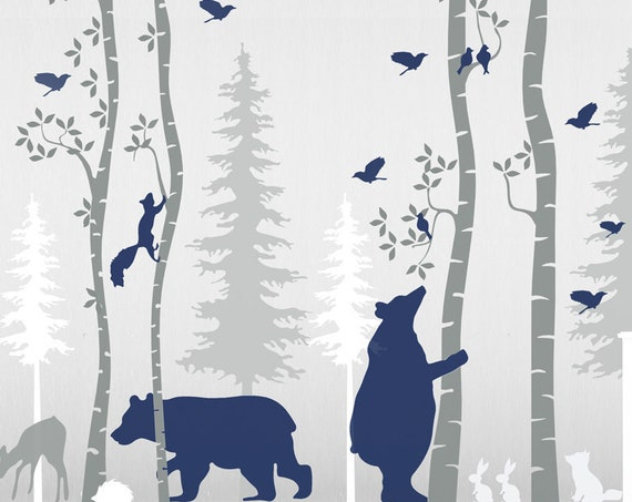 Birch Tree Woodland Wall Decal Nursery Animals Baby Wall Decals Forest Nayy Blue Bear Wall Art Kids Custom Wall Sticker Decor #woodland001