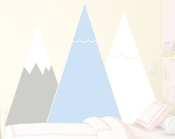 Mountains Wall Decal Pastel Headboard Removable Triangle Sticker Custom For Kids Room Self Adhesive Wall Mural Nursery Decor #mountains012