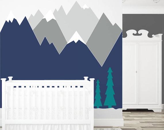 Mountains Wall Decal Nursery Wall Art Headboard Kids Toddlers Baby Room Wall Decor Corner Wall Sticker Self Adhesive Woodland #mountains008